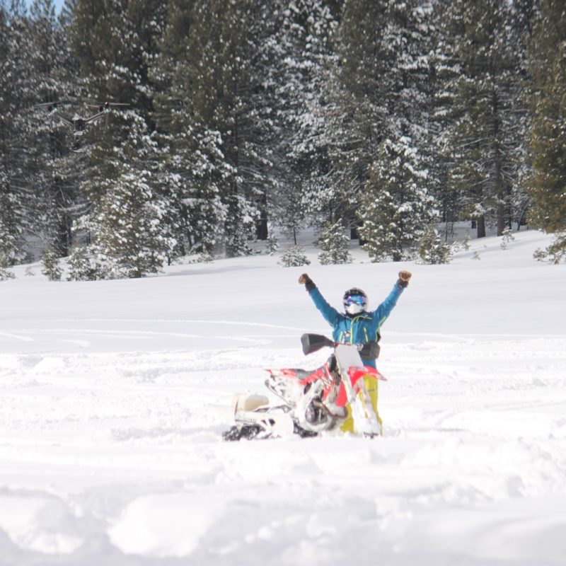 Explore! Sierra Touring Company hosts Jonny Moseley and his film crew of Visit California on the snowmobile tour in 2019 february